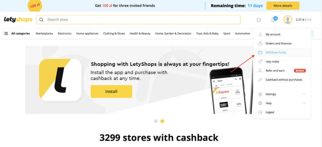 How to make payout from Letyshops?
